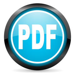 pdf blue glossy circle icon on white background