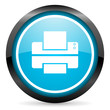 printer blue glossy circle icon on white background