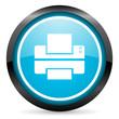 printer blue glossy circle icon on white background