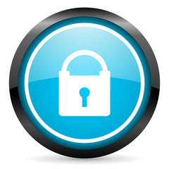 protect blue glossy circle icon on white background