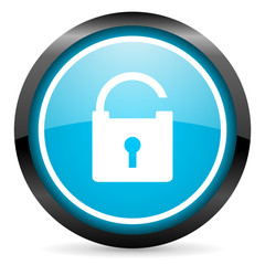 padlock blue glossy circle icon on white background