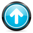 arrow up blue glossy circle icon on white background