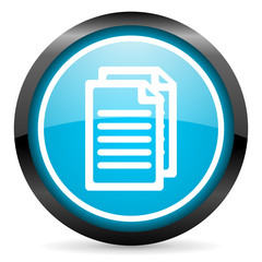 document blue glossy circle icon on white background