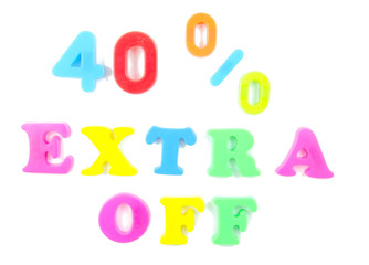 40% extra off written in fridge magnets