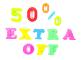 50% extra off written in fridge magnets