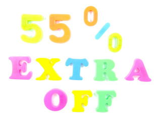 55% extra off written in fridge magnets