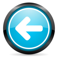 arrow left blue glossy circle icon on white background