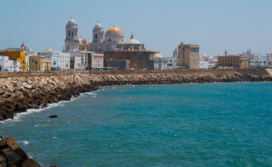 Beautiful view of the cathedral of Cadiz  Spain