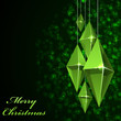 Christmas card with hanging green glass baubles