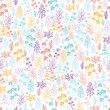 Vecto colorful flowers and plants seamless pattern background