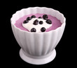 blueberries cream with yogurt isolated on black