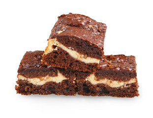 pile of brownies with white and dark chocolate isolated on white