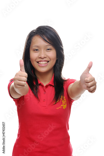 Girl thumbs up