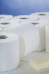 paper toilet rolls and soap