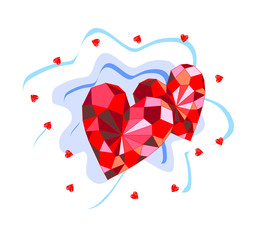 Beautiful background with ruby hearts