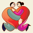 couple holding each other made love icon shape
