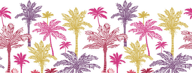 Vector palm trees horizontal seamless pattern ornament