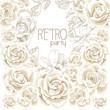 Retro party white flowers background