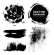 Vector handmade brush strokes set painted by ink