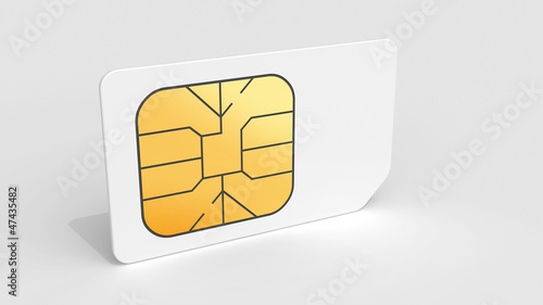 White Sim card on light gray background