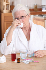 grandmother having a cold