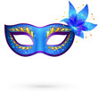 Vector blue ornate venitian carnival mask with flower