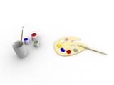 Art tools: paint, palette, tassels poster
