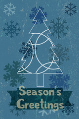 Blue wintery Christmas card graphic