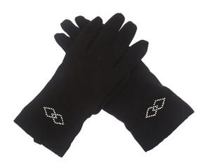 Female winter black gloves isolated on white background.