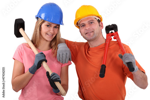 Man and woman with hammer