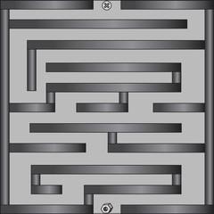 Labyrinth with screw nut on grey background