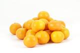 Mandarin oranges piled on white background, isolated
