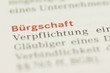 Leinwanddruck Bild - Bürgschaft Wort Nahaufnahme