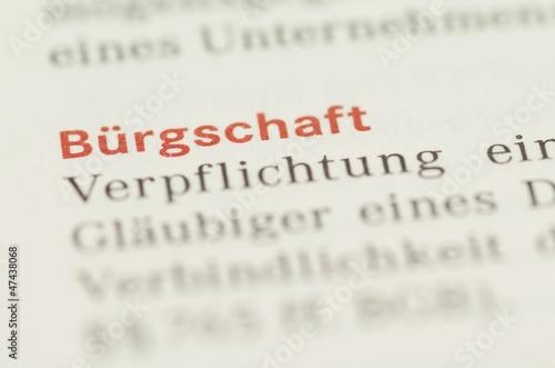 Leinwanddruck Bild Bürgschaft Wort Nahaufnahme