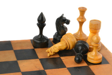 Chess game on white background