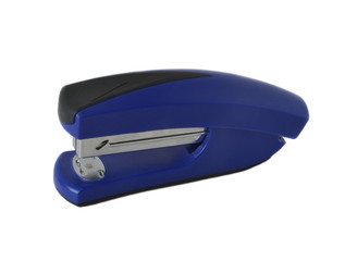 blue stapler on a white background