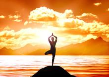 Stock Illustratie van Yoga op een Lake