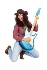 Cute Woman Playing Electric Guitar