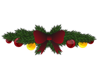 Stock Vector Christmas garland with ribbon and balls