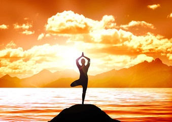 Stock illustration of  Yoga on a Lake