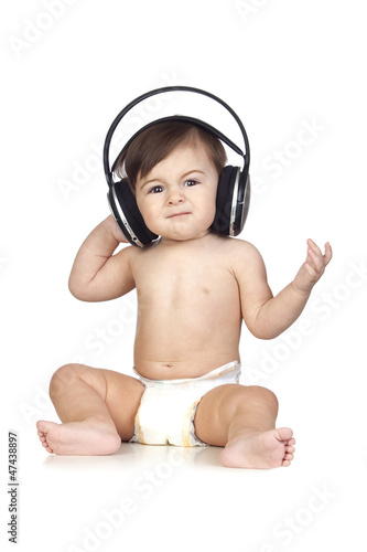 Funny Baby in Diapers Listening to Music