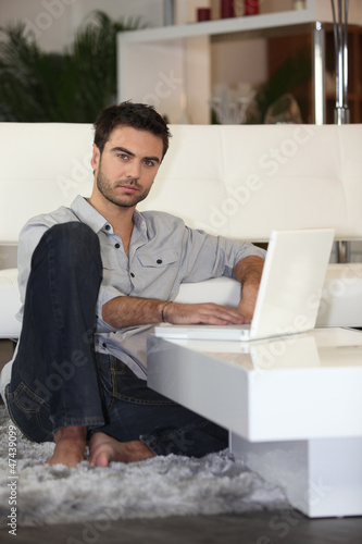 young man using computer