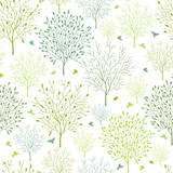 Vector spring trees seamless pattern background with floral