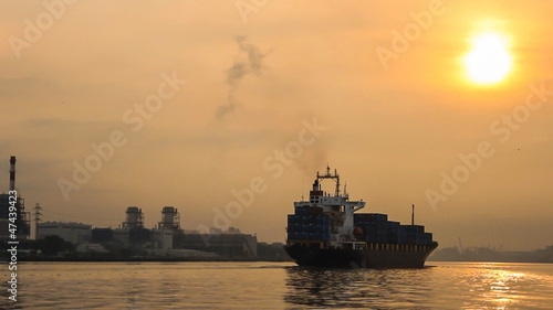 Cargo ship at sunset (part3)