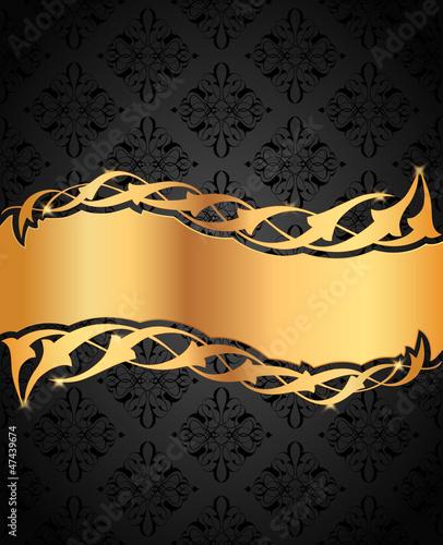 Ortası altın desenli siyah fon