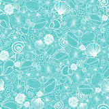 Vector blue seashells line art seamless pattern background with