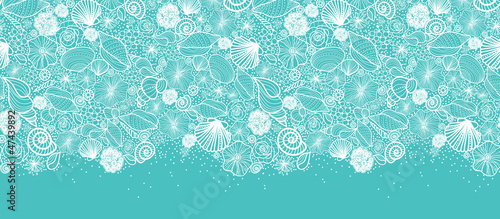 Vector blue seashells line art horizontal seamless pattern - 47439892