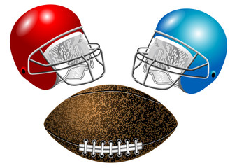 American football, helmet and ball