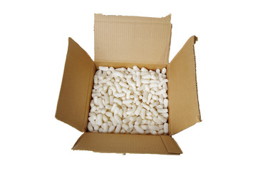 cardboard box with packing material on white
