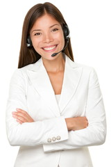 Cheerful Asian call operator